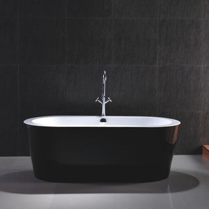 Cholet 67 in. Acrylic Flatbottom Freestanding Bathtub in Black and White