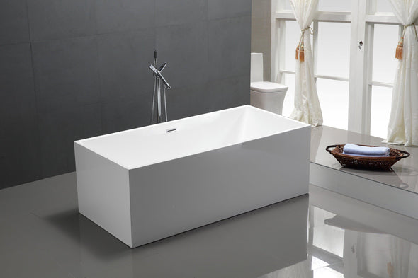 Vanity Art Talence 59 in. Acrylic Flatbottom Freestanding Bathtub in White, VA6813B