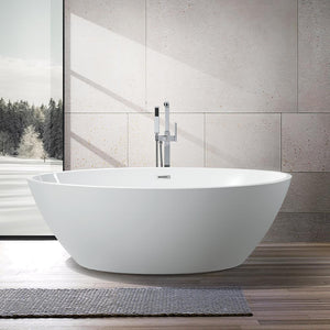 Vanity Art Amiens 69 in. Acrylic Flatbottom Freestanding Bathtub in White, VA6834 test