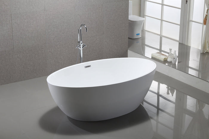 Vanity Art Amiens 69 in. Acrylic Flatbottom Freestanding Bathtub in White, VA6834