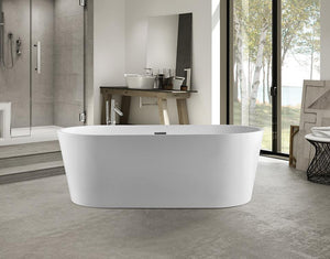 "Vanity Art Acrylic 59"" x 30"" Freestanding Soaking Bathtub, VA6901-S"