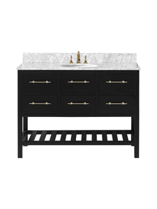 "Vanity By Design - Newberry 48"" Single Bathroom Vanity Set in Black, VANNEWBLK48S"