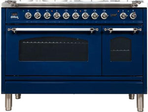 "ILVE 48"" Nostalgie Series Double Oven Propane Gas Burner and Electric Oven Range in Midnight Blue with Chrome Trim, UPN120FDMPBLXLP"