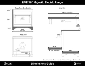 "ILVE 36"" Majestic II Series Electric Induction and Electric Oven Range with 5 Elements in Glossy Black with Brass Trim, UMI09NS3BKG test"