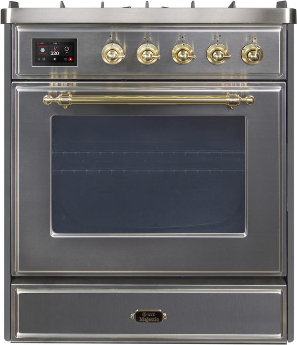 "ILVE 30"" Majestic II Series Propane Gas Burner and Electric Oven Range in Stainless Steel with Brass Trim, UM30DNE3SSGLP"