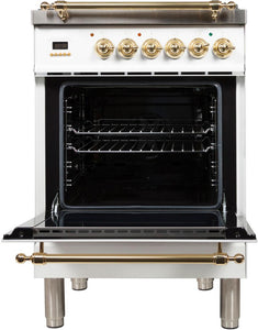 "ILVE 24"" Nostalgie Series Freestanding Single Oven Natural Gas Burner and Electric Oven Range in White with Brass Trim, UPN60DMPBNG test"