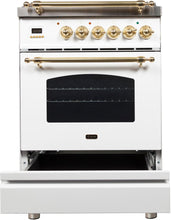 "ILVE 24"" Nostalgie Series Freestanding Single Oven Natural Gas Burner and Electric Oven Range in White with Brass Trim, UPN60DMPBNG"