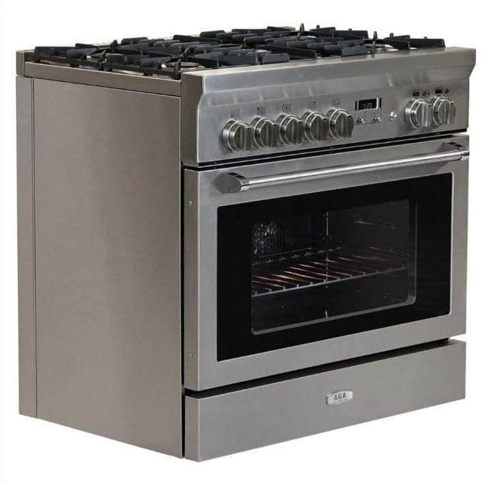 "AGA Professional Series 36"" Gas Burner/Electric Oven Stainless Steel Range, AMPRO36DF-SS"