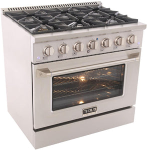 "Kucht Professional 36"" 5.2 cu ft. Natural Gas Range with Silver Knobs, KNG361-S test"