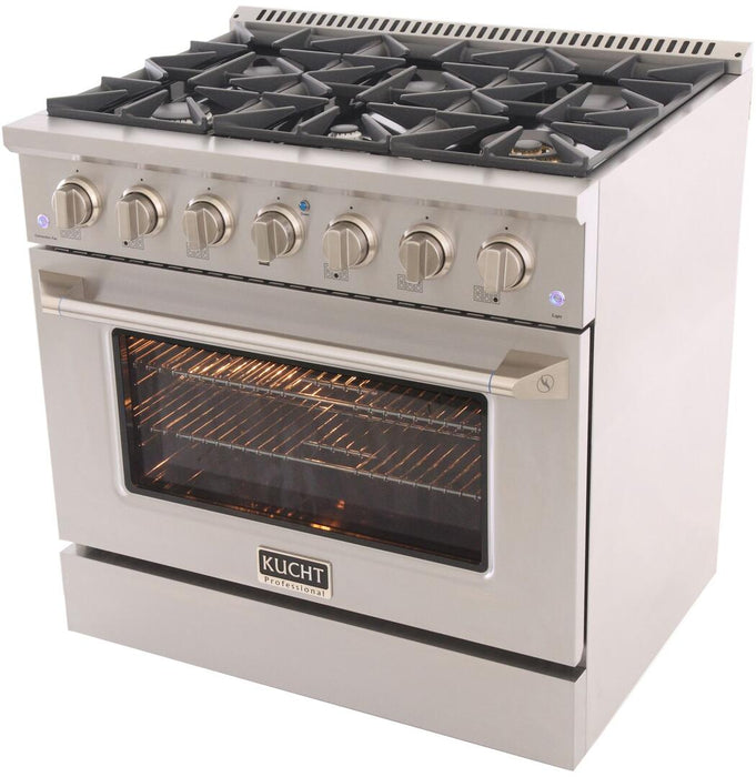 "Kucht Professional 36"" 5.2 cu ft. Natural Gas Range with Silver Knobs, KNG361-S"