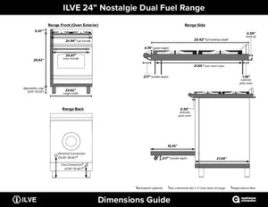 "ILVE 24"" Nostalgie Series Single Oven Propane Gas Burner and Electric Oven Range in Stainless Steel with Bronze Trim, UPN60DMPIYLP test"