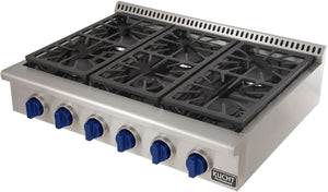"Kucht Professional Series 36"" Natural Gas Burner Rangetop with Royal Blue Knobs, KRT361GU-B test"