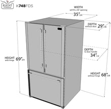 "Kucht Professional 36"" French Door Refrigerator 26.1 cu.ft. Stainless Steel, K748FDS"