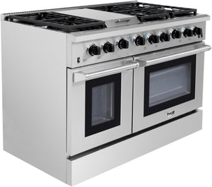 Thor Kitchen 48 in. 6.8 cu. ft. Double Oven Gas Range in Stainless Steel, LRG4801U test