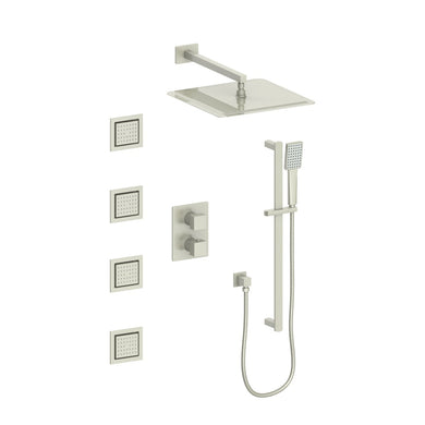 ZLINE Crystal Bay Thermostatic Shower System in Brushed Nickel, CBY-SHS-T3-BN