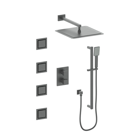 ZLINE Crystal Bay Thermostatic Shower System in Gun Metal, CBY-SHS-T3-GM