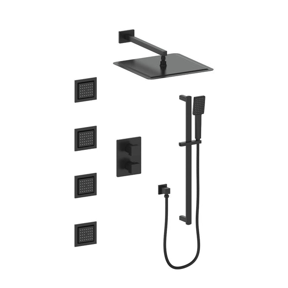 ZLINE Crystal Bay Thermostatic Shower System in Matte Black, CBY-SHS-T3-MB