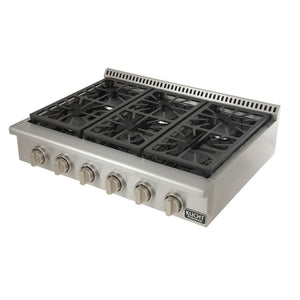 "Copy of Kucht Professional Series 36"" Liqiud Propane Gas Sealed Burner Rangetop with Silver Knobs, KRT361GU/LP-S test"