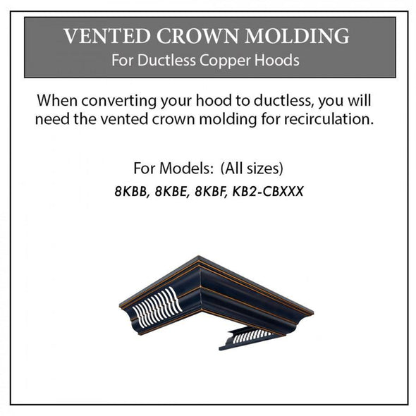 ZLINE Vented Crown Molding for Designer Range Hoods w/Recirculating Option, CM6V-8KBB