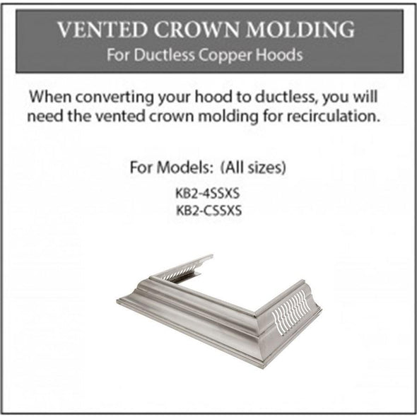 ZLINE Vented Crown Molding for Designer Range Hoods w/Recirculating Option (CM6V-KB-S304)
