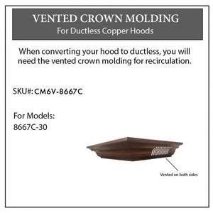 ZLINE Vented Crown Molding for Designer Range Hoods w/Recirculating Option, CM6V-8667C
