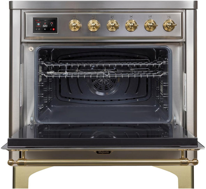 "ILVE 36"" Majestic II Series Electric Induction and Electric Oven Range with 5 Elements in Stainless Steel with Brass Trim, UMI09NS3SSG"