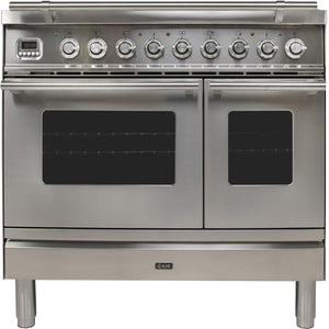 "ILVE 36"" Professional Plus Series Double Oven Natural Gas Burner and Electric Oven Range in Stainless Steel with Chrome Trim, UPDW90FDMPING"