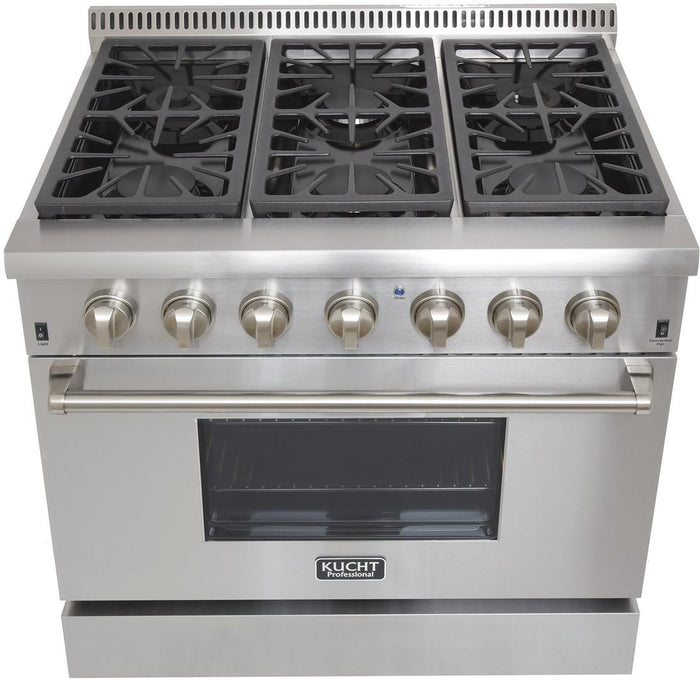 "Kucht Professional 36"" Propane Gas Burner/Electric Oven Range in Stainless Steel with Silver Knobs, KRD366F/LP-S"
