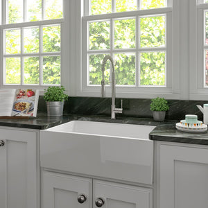 ZLINE Turin Farmhouse Reversible Fireclay Sink in White Gloss (FRC5117-WH-30) test