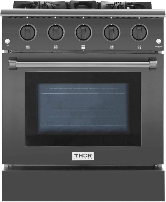 Thor Kitchen 30 in. 4.2 cu. ft. Single Oven Gas Range in Black Stainless Steel, HRG3080BS