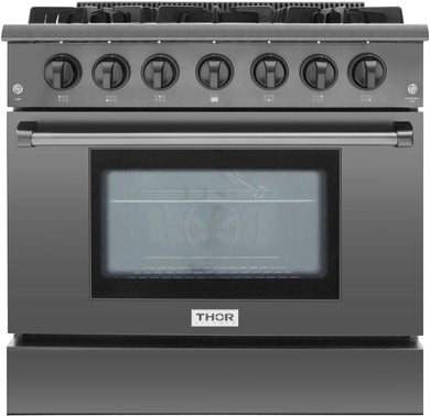 Thor Kitchen 36 in. 5.2 cu. ft. Professional Gas Range in Black Stainless Steel, HRG3618BS