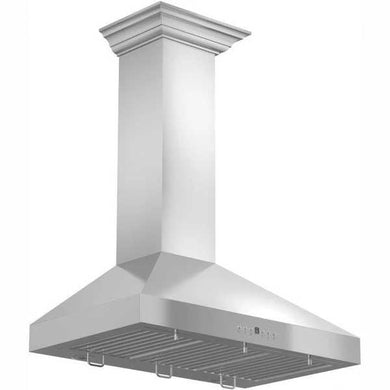 "ZLINE 30"" Convertible Vent Wall Mount Range Hood in Stainless Steel with Crown Molding, KL3CRN-30"