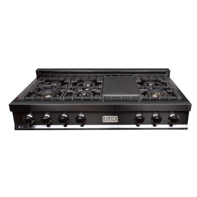 ZLINE 48 in. Rangetop with 7 Gas Burners in Black Stainless Steel, RTB-48