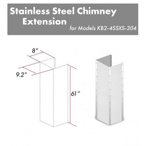 "ZLINE 61"" Stainless Steel Chimney Extension for Ceilings up to 12.5 ft, KB2-4SSXS-30-304-E test"