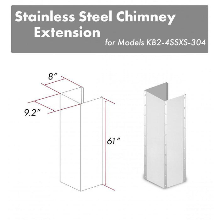 "ZLINE 61"" Stainless Steel Chimney Extension for Ceilings up to 12.5 ft, KB2-4SSXS-30-304-E"