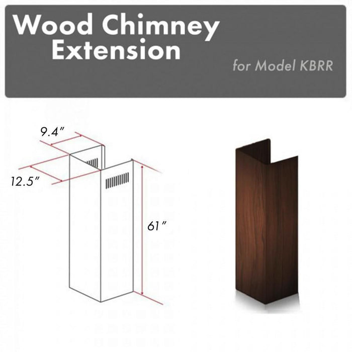 "ZLINE 61"" Wooden Chimney Extension for Ceilings up to 12.5 ft, KBRR-E"