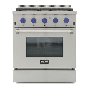 "Kucht Professional 30"" Natural Gas Burner/Electric Oven Range in Stainless Steel with Royal Blue Knobs, KRD306F-B"