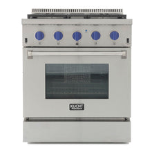 "Kucht Professional 30"" Propane Gas Burner/Electric Oven Range in Stainless Steel with Royal Blue Knobs, KRD306F/LP-B"