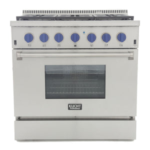 "Kucht Professional 36"" 5.2 cu ft. Natural Gas Range with Royal Blue Knobs, KRG3618U-B"