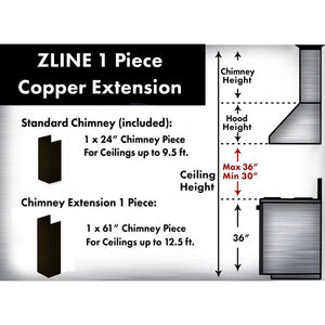 ZLINE 5 ft. Chimney Extension for Ceilings up to 12.5 ft., 8667B-E test