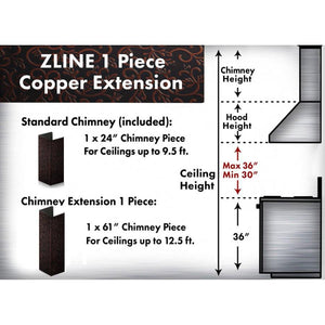"ZLINE 61"" Copper Chimney Extension for Ceilings up to 12.5 ft, 8KBH-E test"