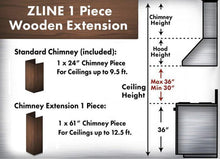 "ZLINE 61"" Wooden Chimney Extension for Ceilings up to 12.5 ft, 373WH-E"