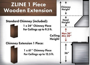 "ZLINE 61"" Wooden Chimney Extension for Ceilings up to 12.5 ft, 321AR-E test"