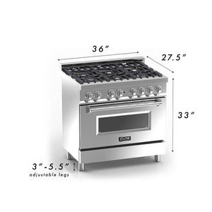 "ZLINE 36"" Professional Gas Burner/Electric Oven Stainless Steel Range with Blue Gloss Door, RA-BG-36 test"