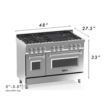 "ZLINE 48"" Professional Gas Burner/Electric Oven Stainless Steel 6.0 cu.ft. 7 Range - Black Matte, RA-BLM-48"