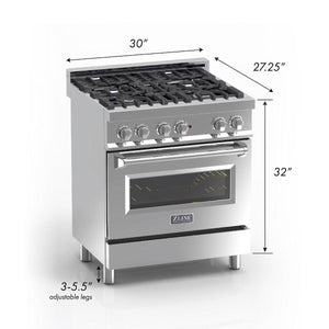 "ZLINE 30"" Professional Gas Burner/Electric Oven in DuraSnow® Stainless with Black Matte Door, RAS-BLM-30 test"