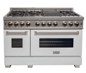 "ZLINE 48"" Professional Gas Burner/Electric Oven DuraSnow® Stainless 6.0 cu.ft. 7 Range with White Matte Door, RAS-WM-48"