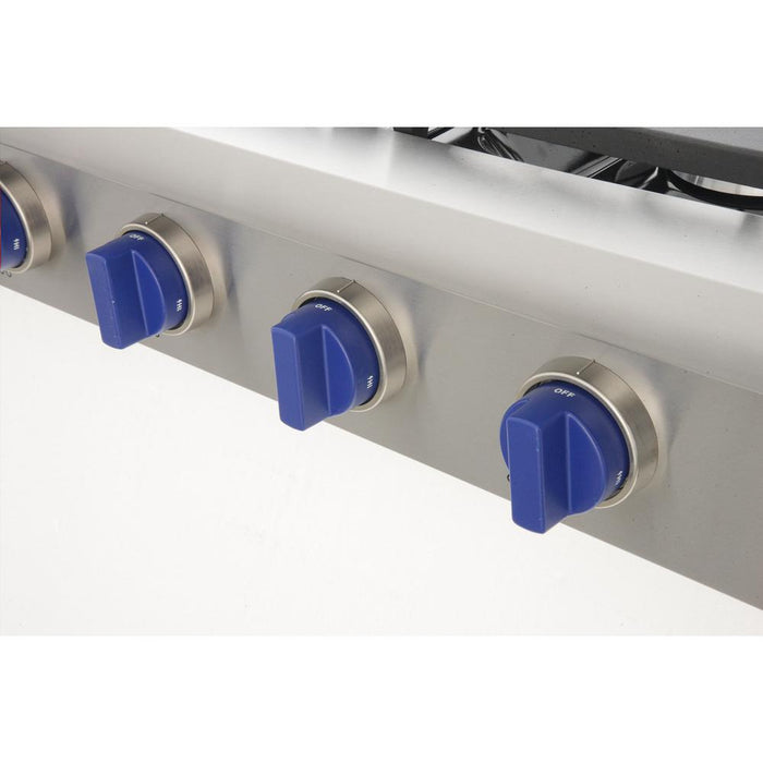 "Kucht Professional Series 48"" Liquid Propane Gas Sealed Burner Rangetop with Royal Blue Knobs, KRT481GU/LP-B"