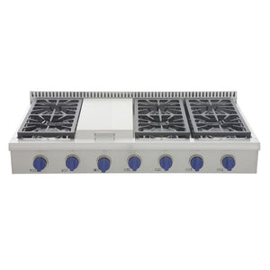 "Kucht Professional Series 48"" Natural Gas Sealed Burner Rangetop with Royal Blue Knobs, KRT481GU-B"