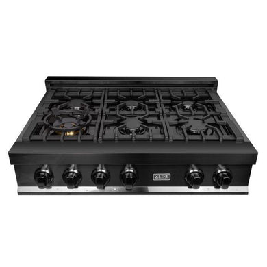 ZLINE 36 in. Rangetop with 6 Gas Burners in Black Stainless Steel, RTB-36